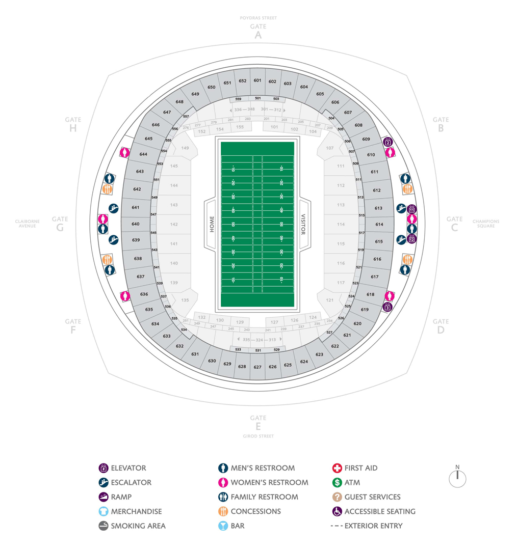 Football seating charts mercedes benz superdome for Mercedes benz superdome suites
