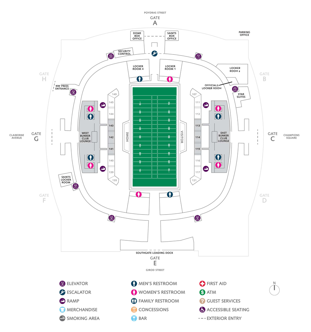 Football seating charts mercedes benz superdome for Mercedes benz superdome club level seating