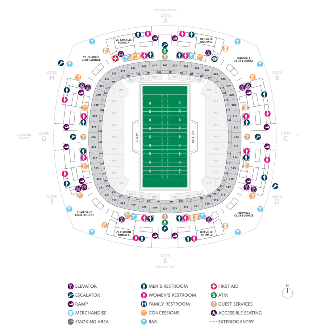 Football seating charts mercedes benz superdome for Mercedes benz superdome seating chart