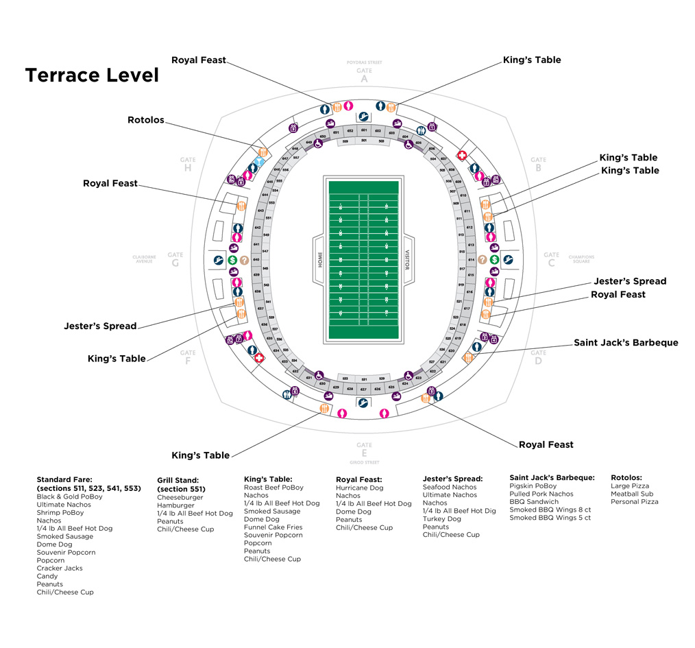 Stadium info for Terrace level